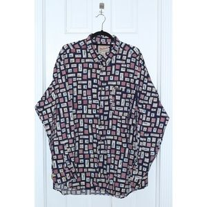 RARE Vintage WOOLRICH All Over Print Fishing Shirt